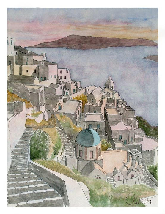 Santorini watercolour - Rod Jones Photography