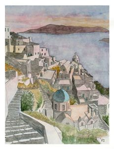 Santorini watercolour