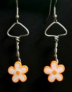 Orange Flower Mushroom Earrings