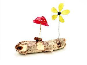 Red Mushroom Driftwood Garden