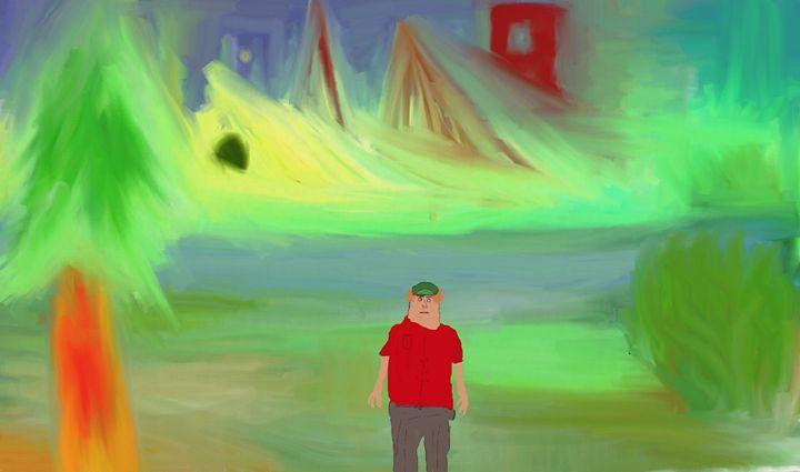 Hillbilly in expressionistic forest - Oddbjorn Sorvik Gallery