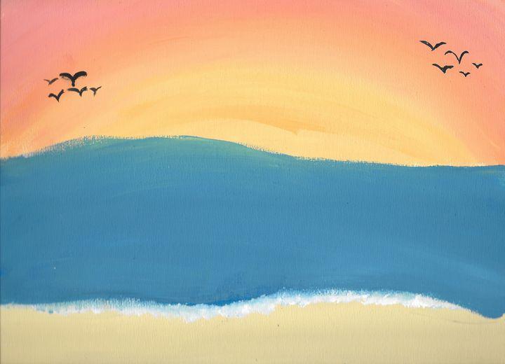 Sunset at Beach - Zee Artiste