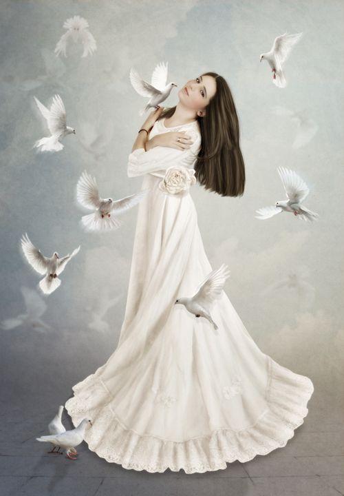 Girl surrounded by doves - Margarita Nizharadze