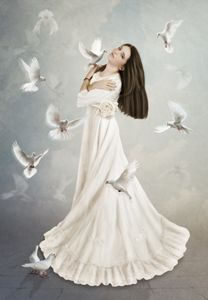 Girl surrounded by doves