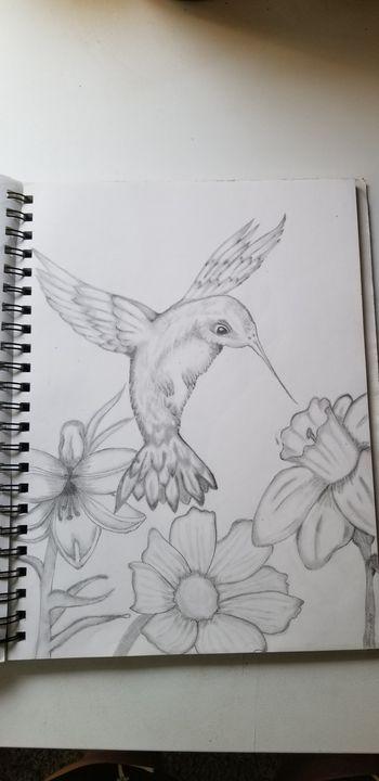 Hummingbird with flowers - Silentzombiegirl