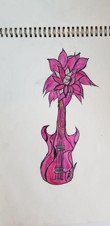 Pink flower guitar - Silentzombiegirl