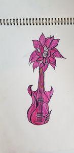 Pink flower guitar