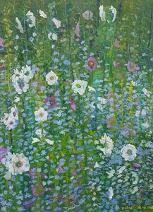 Mallow and Cornflowers I