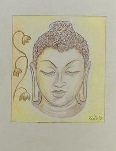Gautam Buddha Pencil Colour Sketch