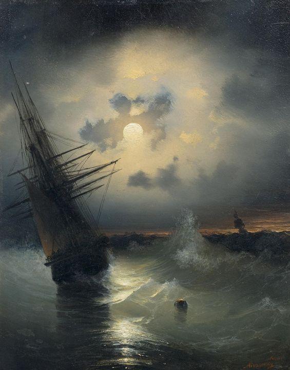 sailing ship on a high sea by moonli - naveen sharma