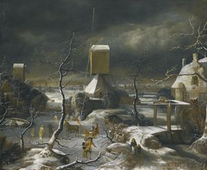 A WINTER LANDSCAPE WITH FIGURES