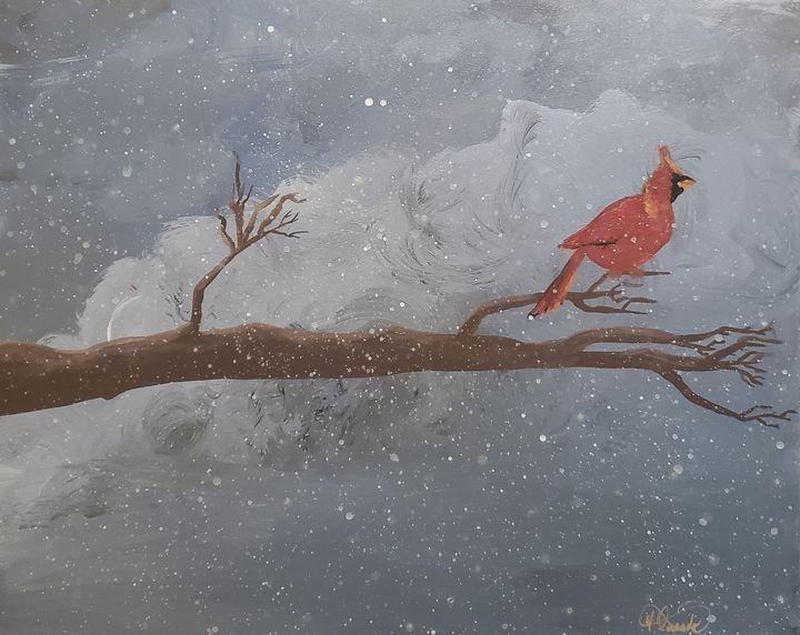 Cardinal in a snow storm - Delirious Pixie Ninja