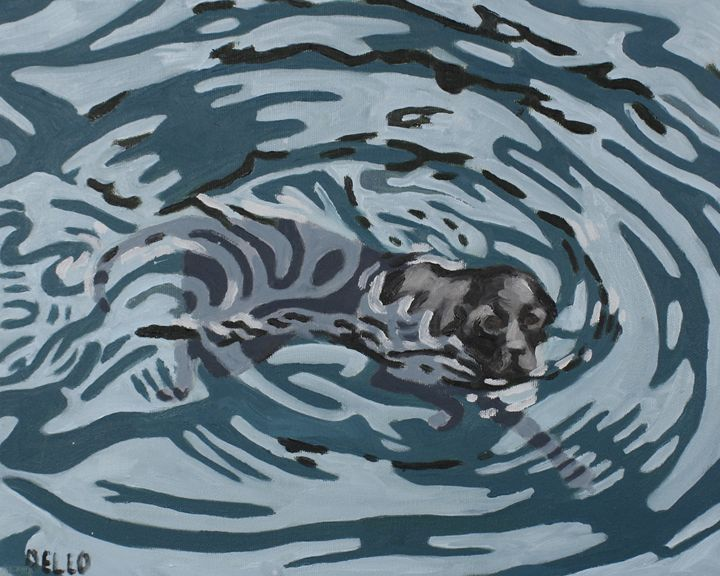 Labrador Swimming - Down with Dogs Art