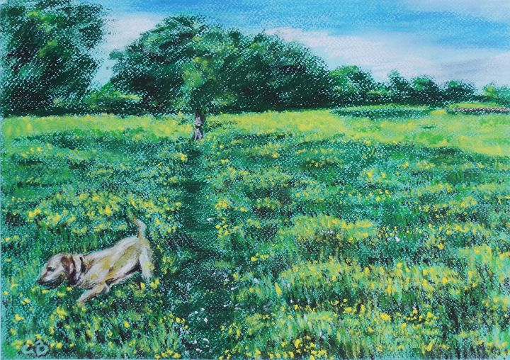 Walkies in the meadow - Cheryl Ball Art