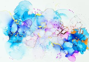 Abstract Fluid Painting Purple Gold - Joanne Herrmann Art Studio