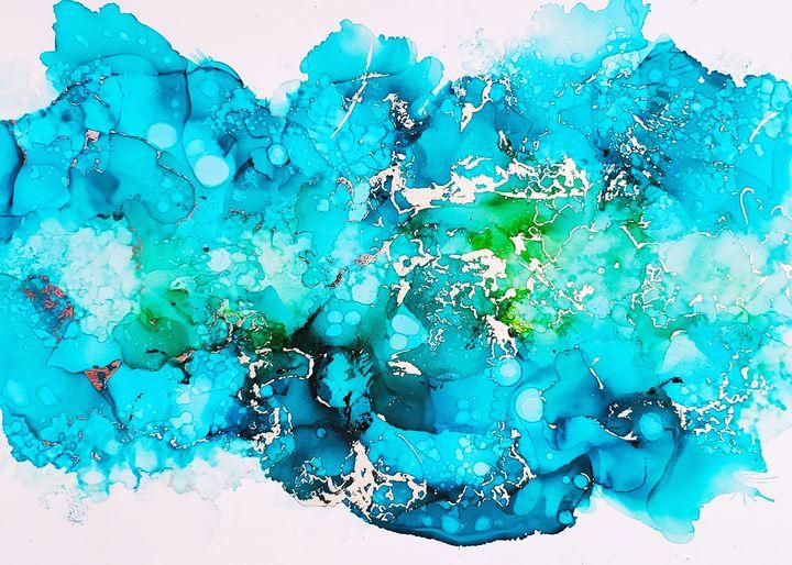 Blue Marble Wall Art Silver Metallic - Joanne Herrmann Art Studio