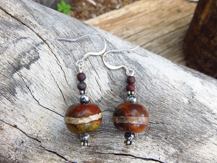 Silver Plated and Wood Bead Earrings - Craftwerks by Jules