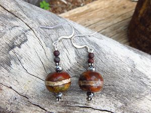 Silver Plated and Wood Bead Earrings