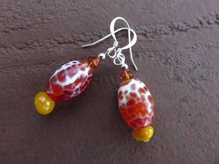 Silver Plated Agate Earrings - Craftwerks by Jules
