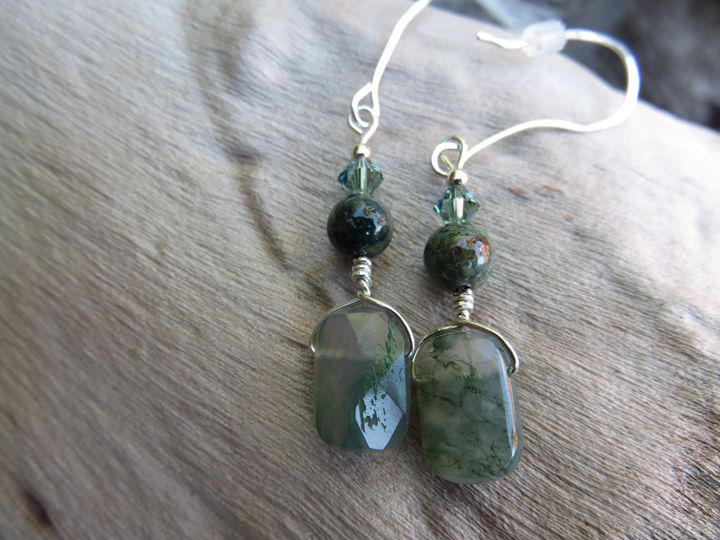 Moss Agate and Sterling Earrings - Craftwerks by Jules