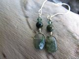 Moss Agate and Sterling Earrings