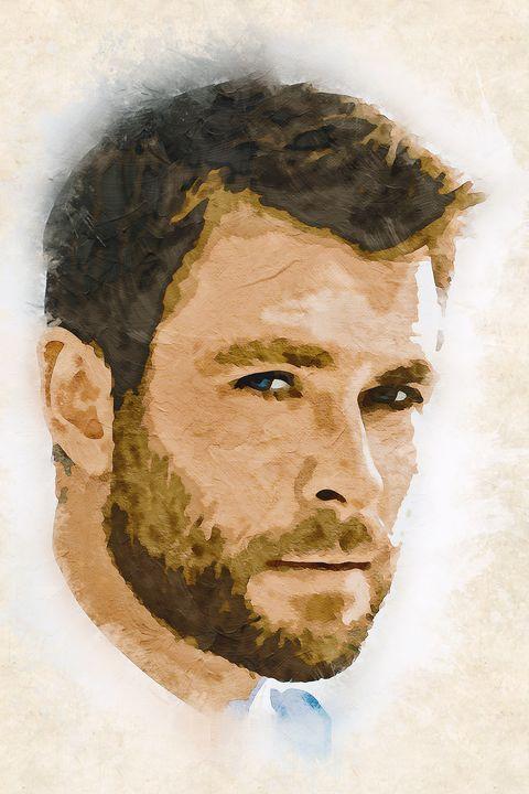Chris Hemsworth watercolor fan art - Naumovski