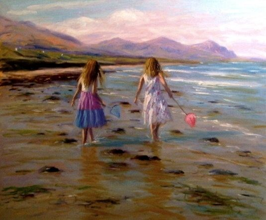 Girls with nets on the beach - STEVEN JONES GALLERY