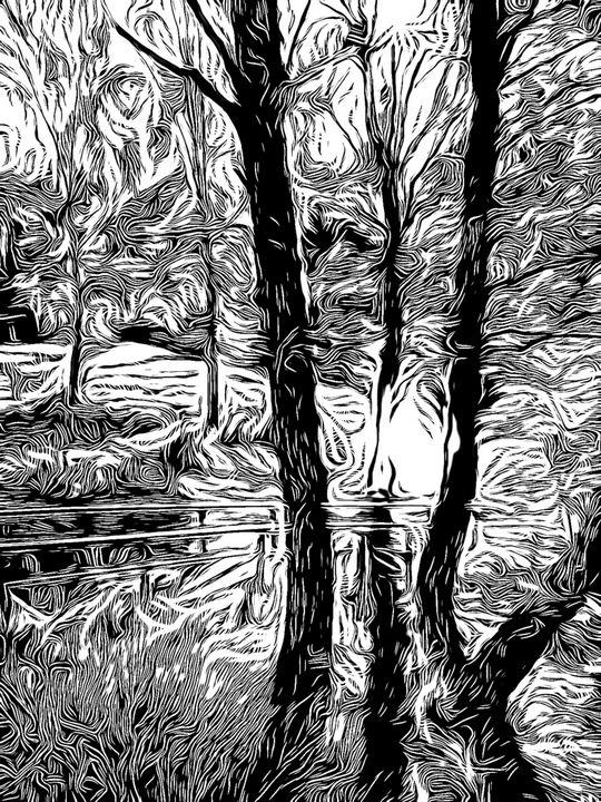 Sun on lochan through trees - aMAC Pen and Ink