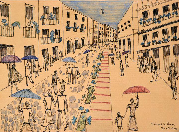 Rainy Street in Rome - C. Iz