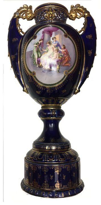 Lg Royal Vienna Porcelain Vase/Urn - MALM Fine Art Collection