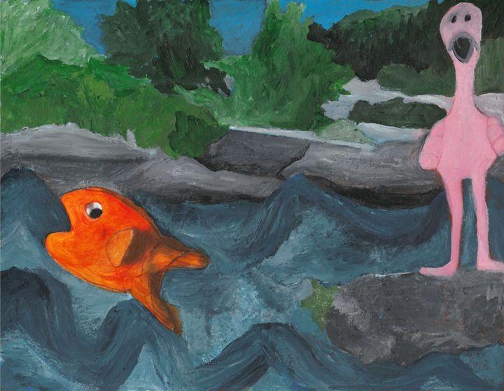 Fish and Flamingo - Emmy Zing Art