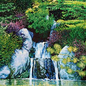 Waterfall at Japanese Garden - Paintings by John Lautermilch