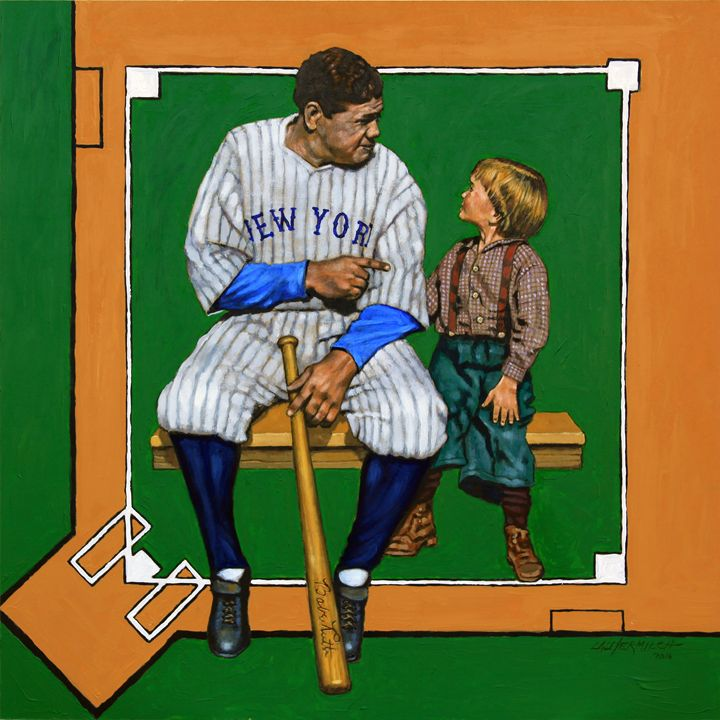 Babe Ruth Talking Baseball - Paintings by John Lautermilch