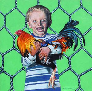Boy With Rooster - Paintings by John Lautermilch