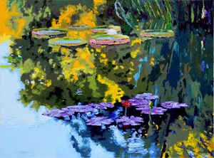 Autumn Reflections on the Pond - Paintings by John Lautermilch