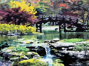Drum Bridge Missouri Botanical Garde - Paintings by John Lautermilch