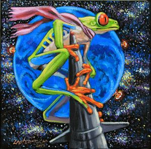 Riding A Nuclear Rocket - Paintings by John Lautermilch