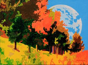 Moon Rising Over Autumn Trees - Paintings by John Lautermilch