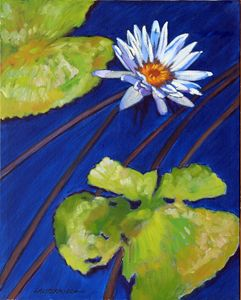 Splash of White on Lily Pond - Paintings by John Lautermilch