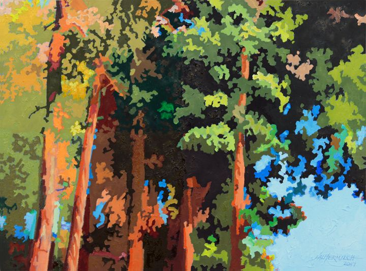 Sunset On Trees - Paintings by John Lautermilch