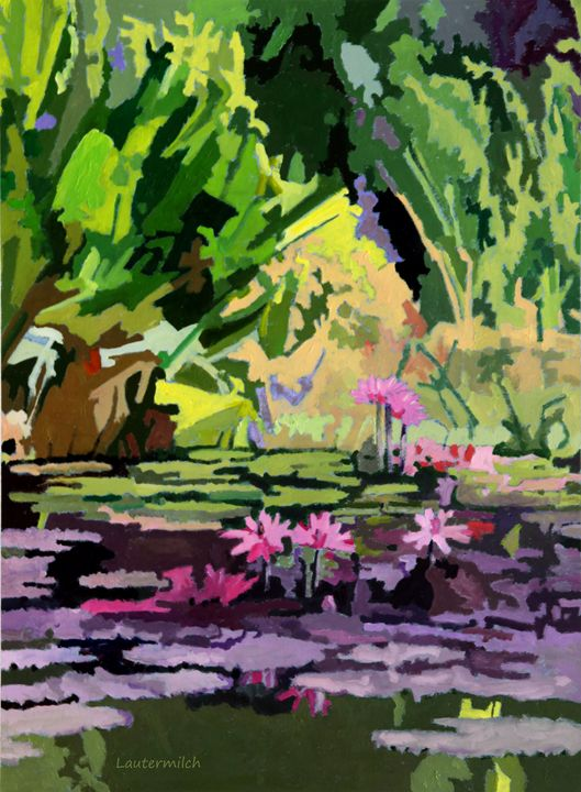 Pink On Green - Paintings by John Lautermilch