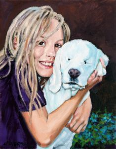 Emily and Her Blind Dog - Paintings by John Lautermilch