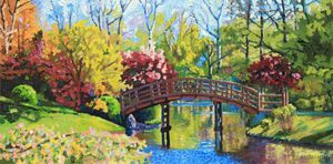 Drum Bridge in Autumn - Paintings by John Lautermilch
