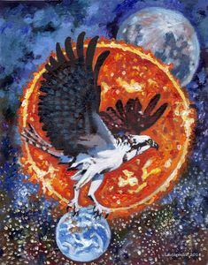 Hawk on Top of the World - Paintings by John Lautermilch