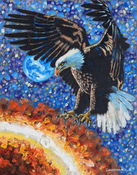 Eagle Attacking the Sun - Paintings by John Lautermilch