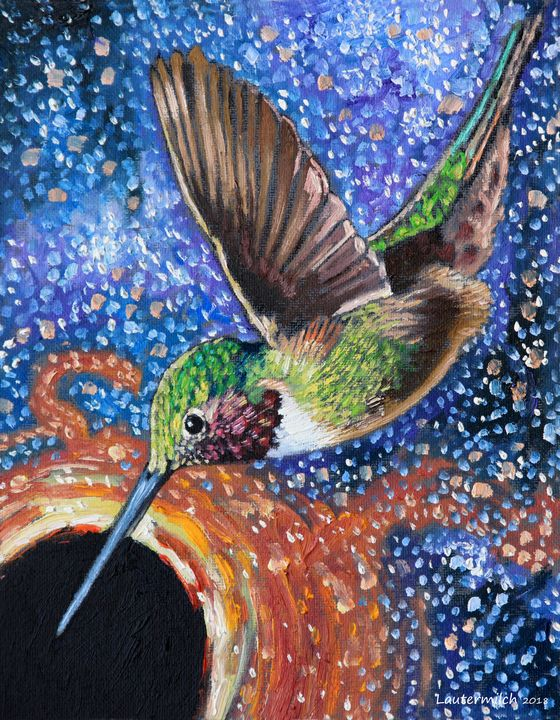Humming Bird and Black Hole - Paintings by John Lautermilch