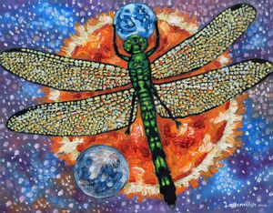 Dragon Fly Holding Earth - Paintings by John Lautermilch