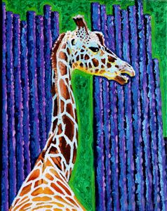 Giraffe at St. Louis Zoo - Paintings by John Lautermilch
