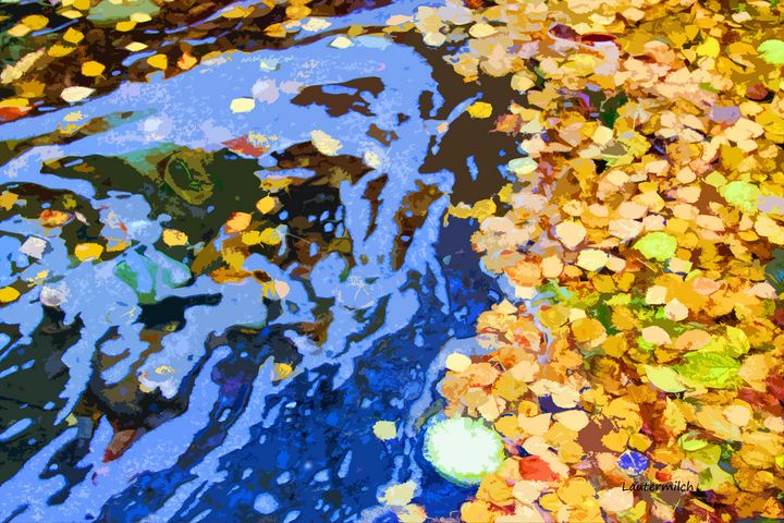 Leaves In Stream - Paintings by John Lautermilch