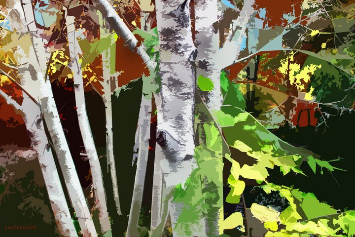 Aspens In Autumn - Paintings by John Lautermilch